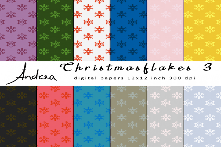 Christmas flakes 3 seamless patterns