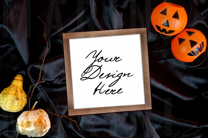 Halloween Wood Sign mockup, square wooden sign mockup 1087