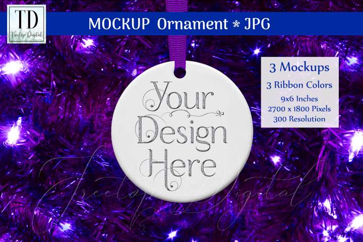 Round Christmas Ornament Mockups, Bauble Mock-Up Purple, JPG