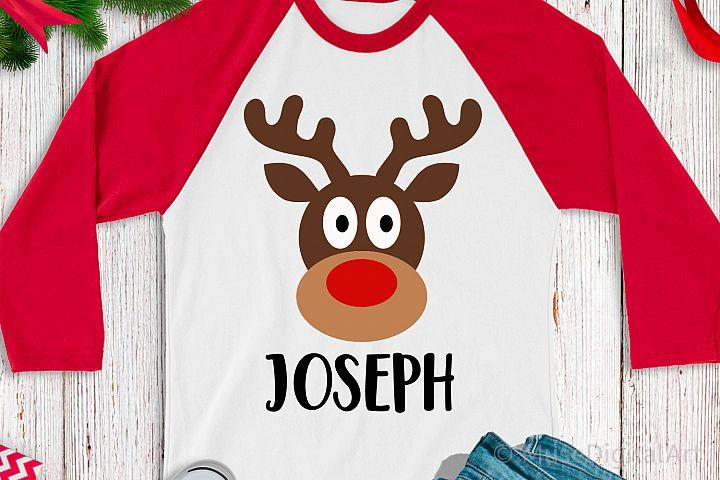Reindeer Monogram Svg, Boy Christmas Svg, Cute Reindeer Face
