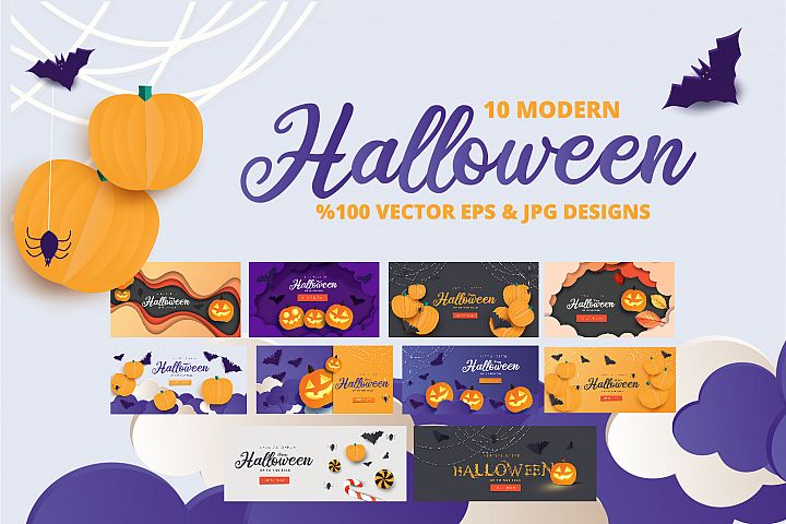 Halloween Sale header or banner design and invitation flyer