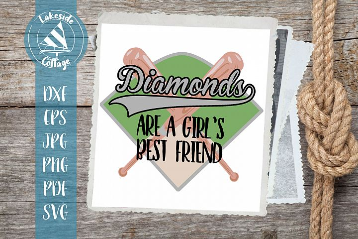 Diamonds are A Girls best friend svg dxf - softball svg