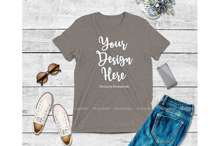 Grey Shirt Mock Up, Bella Canvas 3413 Tshirt Mockup Display