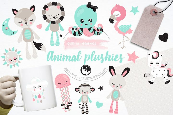 Animal plushies graphics and illustrations