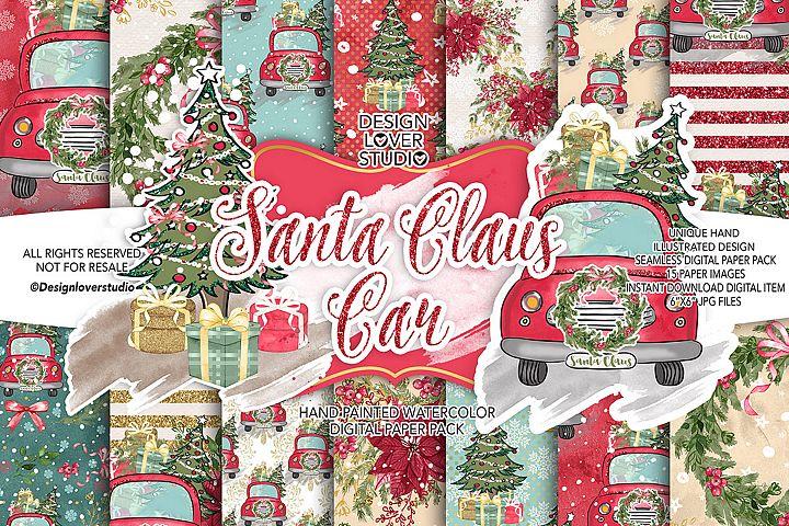 Santa Claus Car digital paper pack