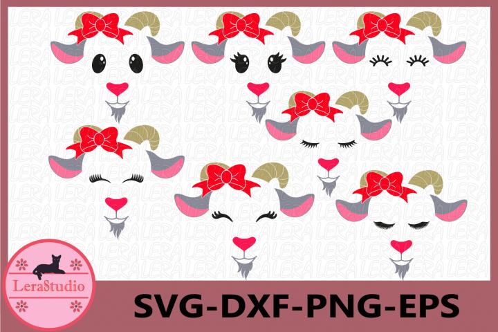 Farm Svg, Goat Face Svg,Goat Eyelashes Face Svg, Bow