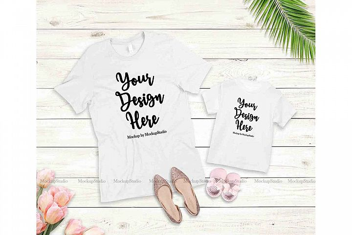 Mother Daughter White Shirts Mockup Bella Canvas 3001 3001T