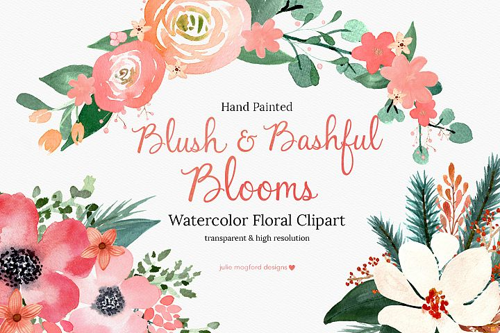 Blush & Bashful Blooms - Watercolor Floral Clipart
