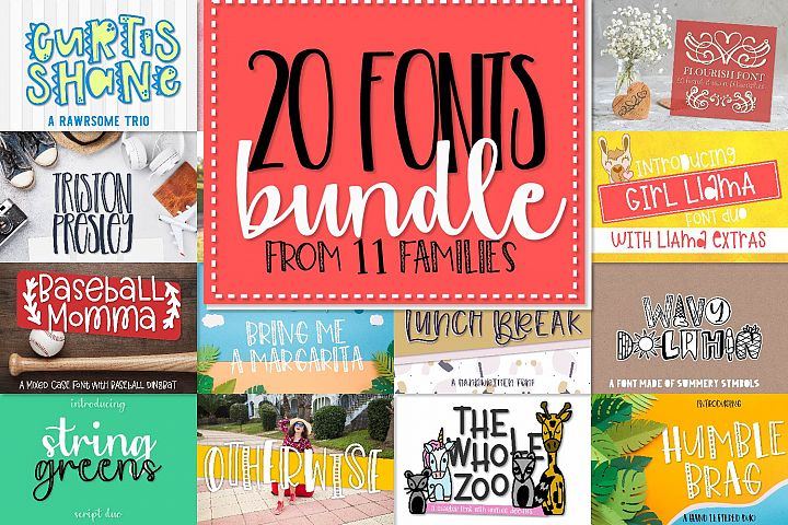 Bundle of 20 Craft Friendly Fonts!