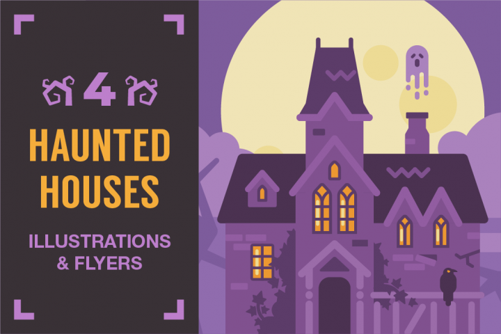 Haunted houses illustrations