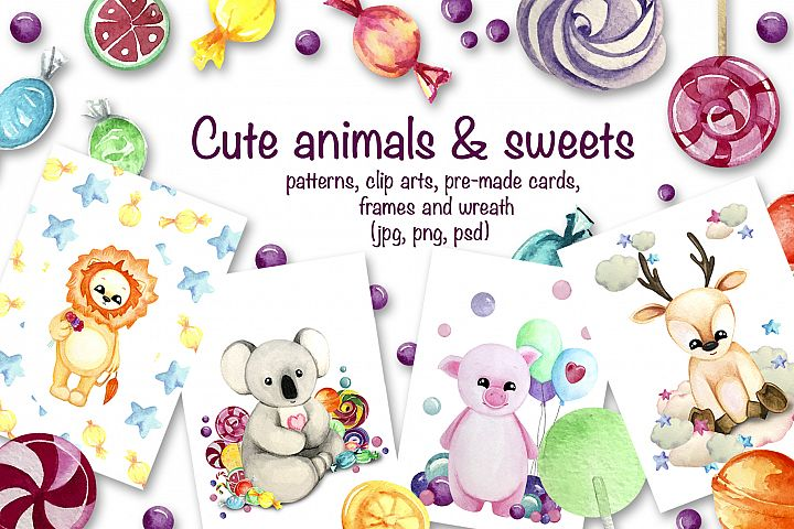 Cute animals & sweets