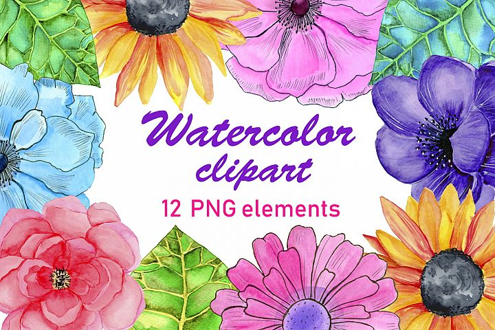 Watercolor flowers and leaves clipart