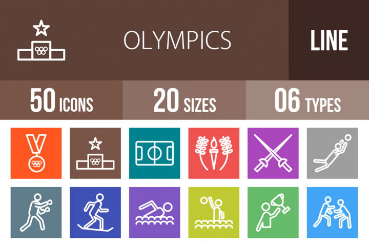 50 Olympics Line Multicolor B/G Icons