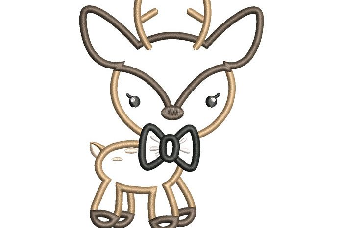 Boy Deer Bow Applique