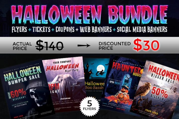Halloween Big Bundle - flyers, banners, social media etc.