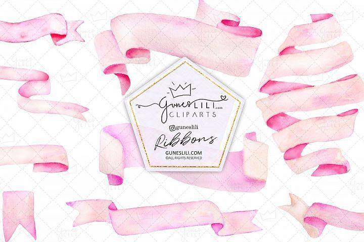 Pink Watercolor Banner Ribbon Cliparts