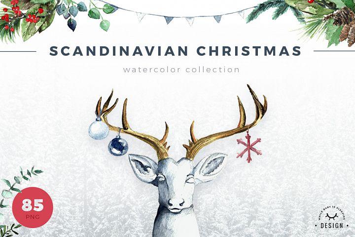 Watercolor Scandinavian Christmas -50 Sale!