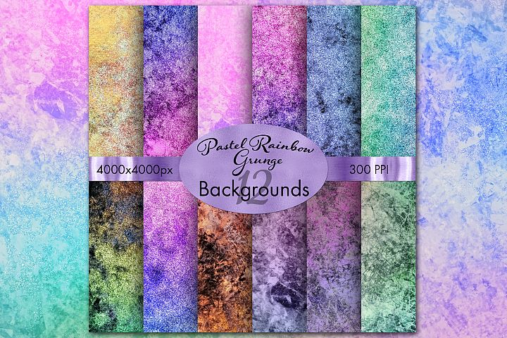 Pastel Rainbow Grunge Backgrounds - 12 Image Set