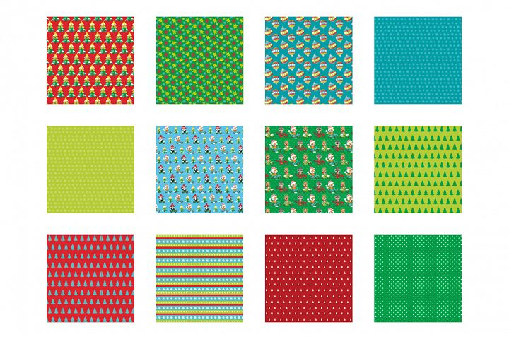 Christmas bicycles Pattern collection, vector ai, example image 2