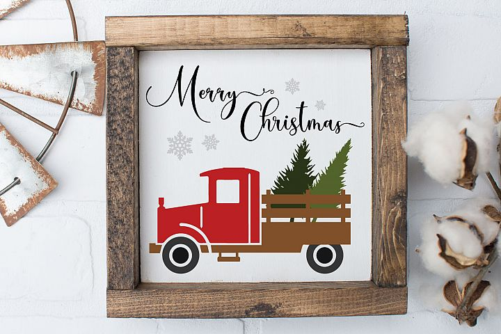 Christmas Vintage Truck Trees SVG and EPS Silhouette Files