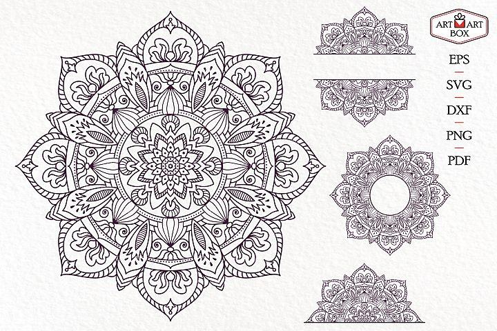 Octagonal mandala, frame, monogram, half.