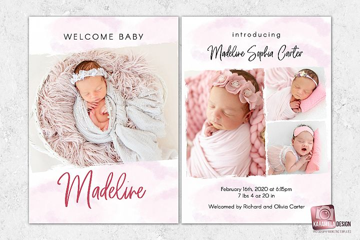 Baby Girl Announcement Template for Photographers