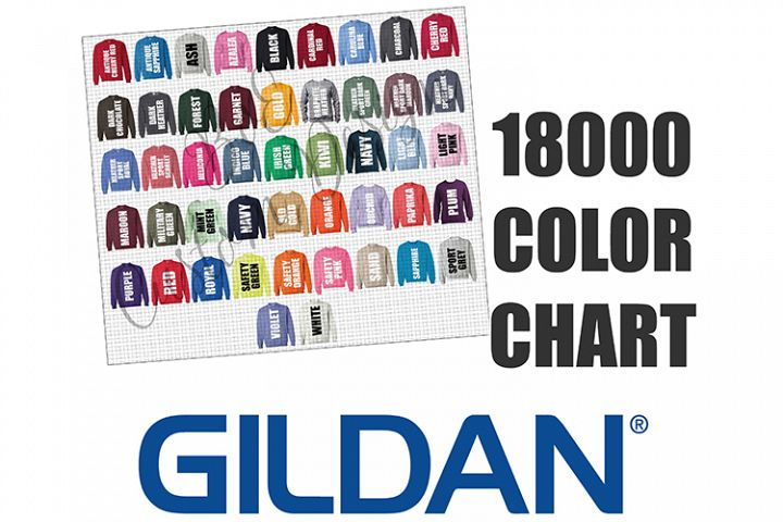 Gildan 18000 Crewneck Sweatshirt Color Chart