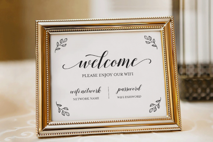 Wifi Password Printable, Wifi Sign Template, Welcome Guest