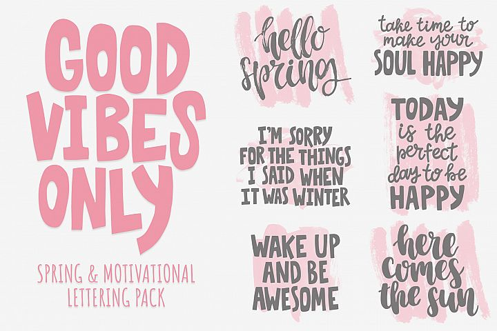 Good vibes only lettering pack