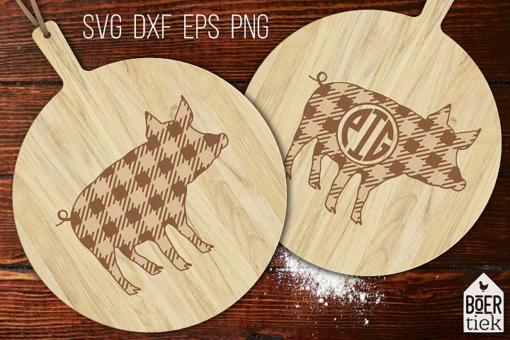 Buffalo plaid pig| Farm SVG cutting file | 2 designs