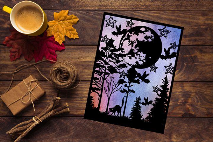 Cat, Bats and Moon Papercut Template