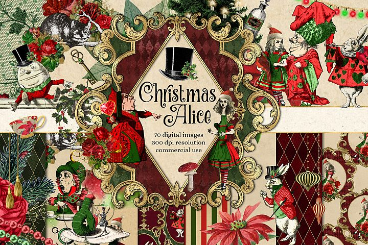 Christmas Alice In Wonderland Clipart