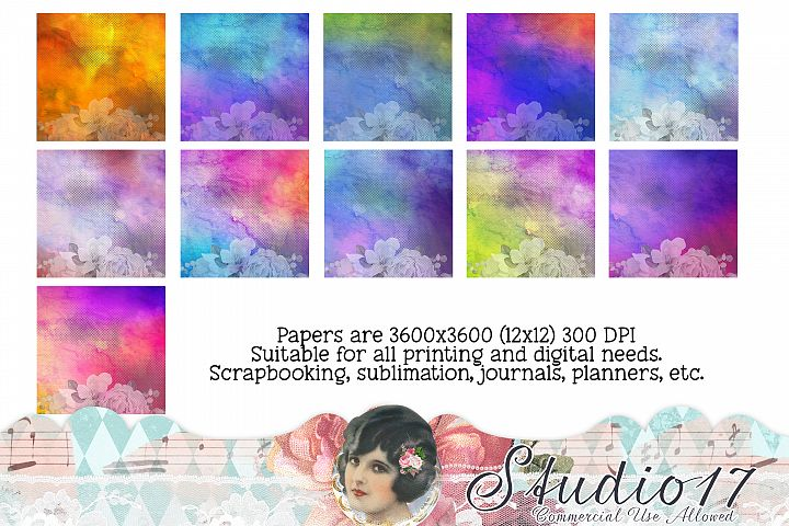 Watercolor Floral Background Digital Papers