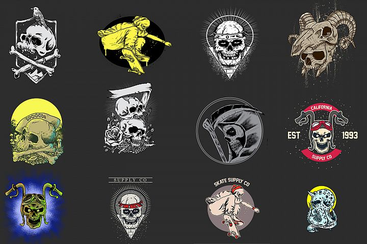 SKULL COLLECTION DESIGN FOR T-SHIRT