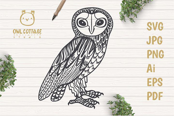 Decorative Barn Owl Tattoo Design, Owl SVG Cut File