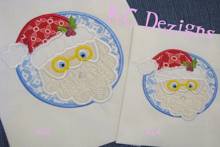 Santa Circle Machine Applique Embroidery Design