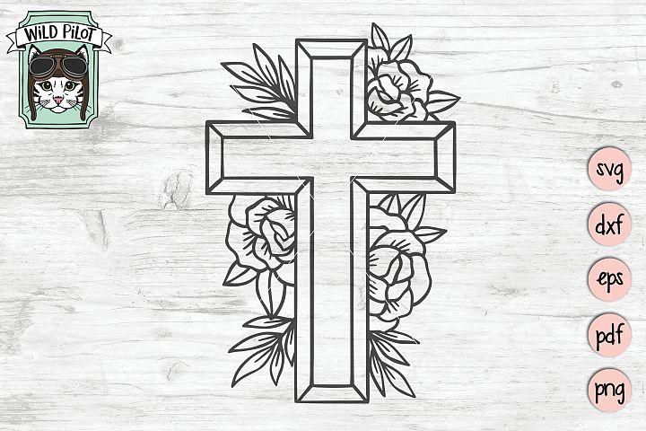 Flower Cross SVG file, Religious Cut File, Christian, Floral