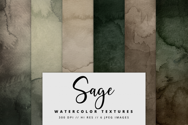 Sage Watercolor Textures | 6 Pack