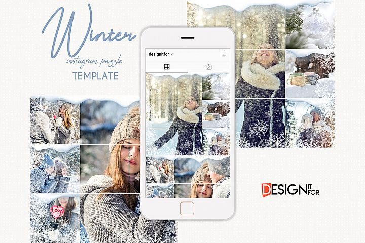 Winter Instagram Puzzle Template, Post Template