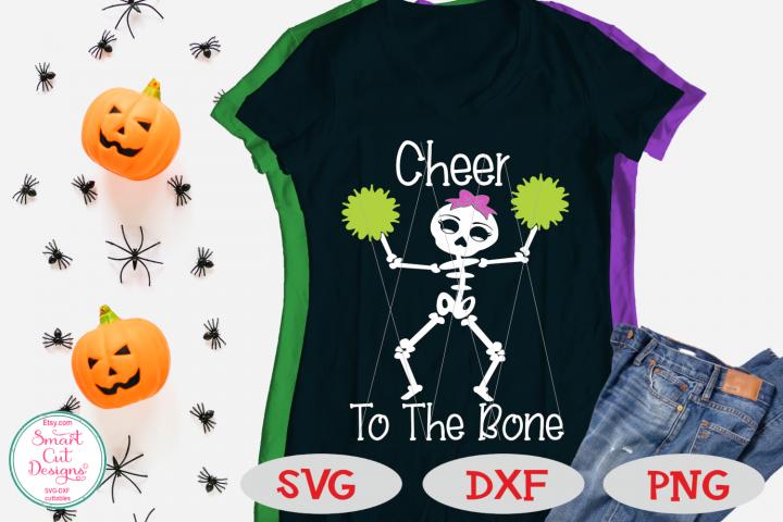 Cheer To The Bone SVG, Halloween Cheerleder, Girl, Skeleton