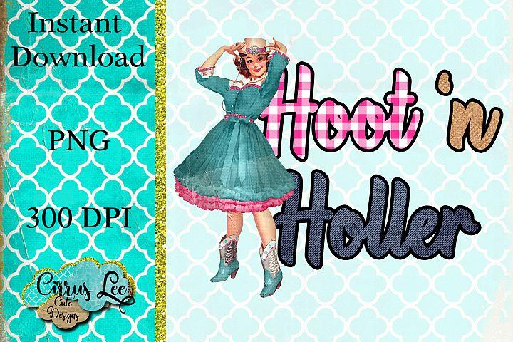 Hoot N Holler Sublimation Design