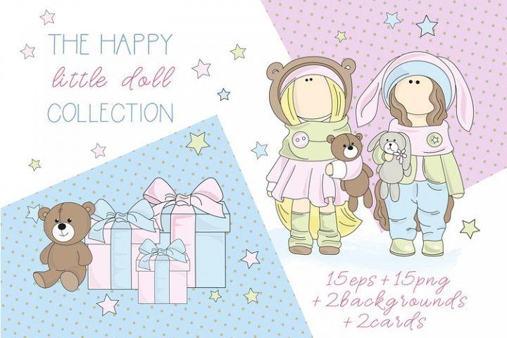 TILDA DOLLS Color Vector Illustration Set
