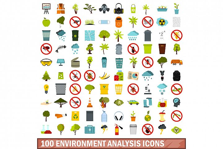 100 environment analysis icons set, flat style