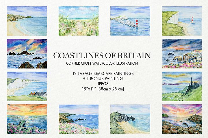 Watercolor Coast of Britain For Instant Download