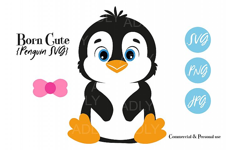 Baby Penguin Gender Neutral,Bow,Tie,ClipArt,SVG,PNG,birthday