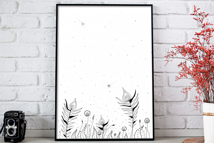 Tribal Flowers Art, A1, SVG