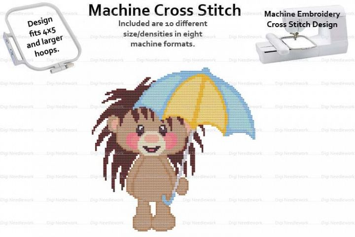 Baby Hedgehog Umbrella 4x5 Hoop Mach Embroidery Cross Stitch