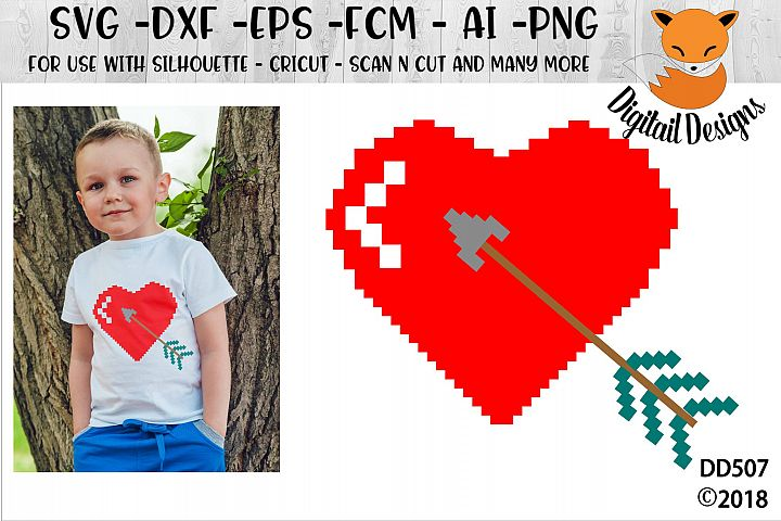 Valentine Pixelated Heart SVG