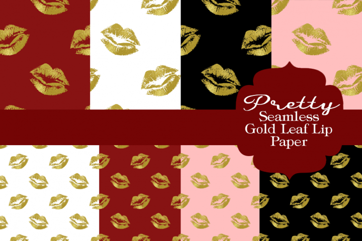 Pretty Lips Gold Leaf Patterned Papers