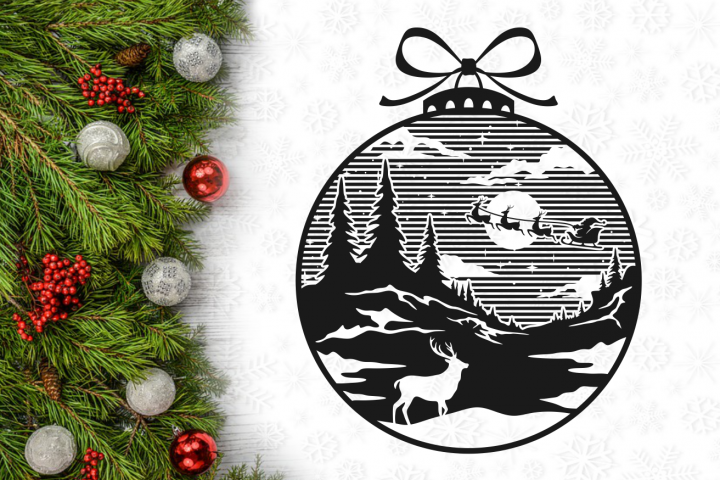 Santa Reindeer Christmas Lightbulb Svg Design